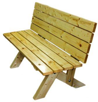Скамейка из досок со спинкой
